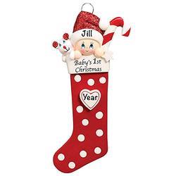 Baby's First Christmas Baby Keepsake Baby 2021 Ornament – Baby's First Christmas Ornament – Red Baby 1st Christmas Stocking Ornaments for Baby Christmas – My First Christmas Baby Ornament