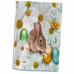 East Urban Home Juan Easter Bunny Daisy Garden w/ Colored Eggs & Butterflies Hand Towel Microfiber/Terry/Cotton in Brown/Gray | Wayfair