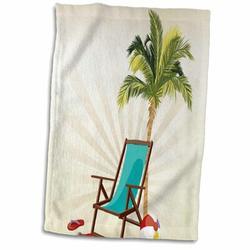 East Urban Home Bearden One Palm Tree w/ a Beach Lounge Chair & Flip Flops Design Hand Towel Microfiber/Terry/Cotton in Blue/Green | Wayfair