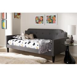 Baxton Studio Packer Modern and Contemporary Grey Fabric Upholstered Twin Size Sofa Daybed - 95-Packer-Grey-Daybed