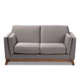 Baxton Studio Sava Mid-Century Modern Grey Fabric Upholstered Walnut Wood 2-Seater Loveseat - 95-BBT8037-Grey-LS
