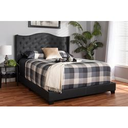 Baxton Studio Alesha Modern and Contemporary Charcoal Grey Fabric Upholstered King Size Bed - 95-Alesha-Charcoal Grey-King