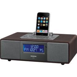 Sangean Camp & Hike AM/FM-RDS Receiver Ipod Dock AUX-IN Line-Out Clock/Alarm Remote Dark Walnut WR5