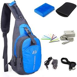 Awaqi 7 in 1 Travel Kit Shoulder Bag Crossbody Travel Bag + AC Adpater+ Car Charger for 3DS XL+Soft Protective Bag+Game Card Holder Case+Stylus+ USB Cable Travel Kit for Nintendo 3DS XL/DSi/DSi XL