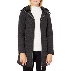 Calvin Klein Women's Walker Length Faux Fur Trimmed, Diamond Quilting Pattern, BLACK, M
