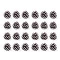 """Yahpetes 24 Pcs Christmas Pine Cones 1.96"""" Snow Tipped Natural Pine Cones Wood Frosted Pine Cone Ornaments for Decorating and Designing (24 pcs)"""