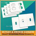 64 Electrical Outlet Covers, 32 Light Switch Covers, Electrical Outlet & Light Switch Plate Draft Stopper Foam Gaskets