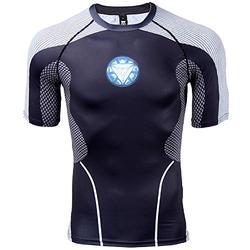 Mens Compression Shirt Iron Man 3D Printed T Shirts Fitness Tops (Medium, Blue Light)