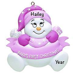Baby's First Christmas Baby Keepsake Baby 2021 Ornament – Baby Girl First Christmas Ornament – Pink Snow Baby Girl 1st Christmas Ornaments for Baby Christmas – My First Christmas Baby Girl Ornament