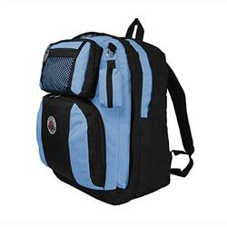 TRANSWORLD Double Gusset 17-inch Backpack, Black Skyblue