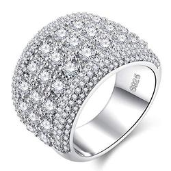 Zhiwen Hearts and Arrows Zircon Ring White Diamond Accent Dome Ring Cubic Zirconia Diamond Birthday Present Jewelry Gift Wide Bands Size 6-10 (US Code 9)