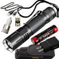 klarus 360X1 Super Bundle with 1800 Lumen Tactical Flashlight, 18650 Rechargeable Battery, Holster, USB Charge Cable, Lanyard, USB Wall Adapter, USB Car Adapter, Mini USB Light