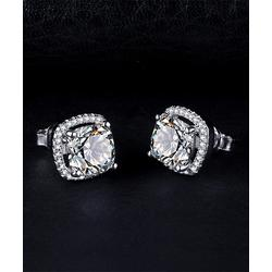 Amy and Annette Women's Earrings Silver - Crystal & Sterling Silver Square Stud Earrings