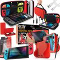 Orzly Switch Accessories Bundle – Carry Case & Glass Screen Protectors for Nintendo Switch, USB Charging Cable, Switch Games Case, Comfort Grip Case & Headphones [Poke Style – Red / White / Black]