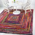 Bungalow Rose Marcantel Geometric Handmade Braided Cotton Yellow/Pink Area Rug in Brown, Size 96.0 H x 96.0 W x 0.5 D in   Wayfair