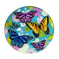 Evergreen Garden Beautiful Summer Bountiful Butterfly Glass Bird Bath with Stand - 16 x 16 x 2 Inches Fade and Weather Resistant Outdoor Decoration for Homes, Yards and Gardens