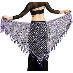 Women Belly Dancing Skirts Hip Scarf Plus Size Gypsy Triangle Wrap Skirts Sexy Ladies Dancing Belt Purple, Large