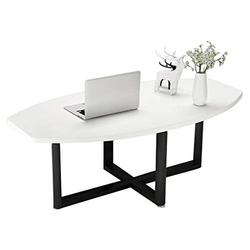 Home warehouse Nordic Coffee Table, Creative Household Living Room Sofa Table Iron Art Side Table Corner Table Wooden Small Dining Table Oval Leisure Reading Table,White