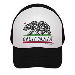 JP DOoDLES California Bear Flag Hat Kids Trucker Hat. Baseball Mesh Back Cap fits Baby, Toddler and Youth (Black, Youth 5-7 YRS)