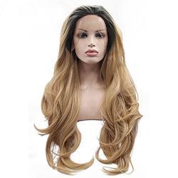Perruques Femmes Cheveux Naturels Lace Wig Perruques Frisées Sans Colle Perruques Noires Indien Remy Cheveux Humains BaZhaHei (66cm, Jaune)