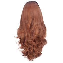 Perruques Femmes Cheveux Naturels Lace Wig Femme Perruque Frisée Curly Perruque Cosplay Perruques Rouge Indien Remy Fiber Front Lace Hair BaZhaHei (80cm, Marron)