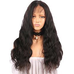 Perruques Femmes Cheveux Naturels Lace Wig Perruques Frisées Sans Colle Perruques Noires Indien Remy Cheveux Humains BaZhaHei (60cm, Noir)