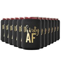 Thirty AF Can Coolers, 30th Birthday Party Coolies, Set of 12, Black/White and Gold Thirtieth Birthday Cup Coors, Perfect for Birthday Parties, Birthday Decorations (Black, Regular)