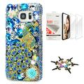 STENES Galaxy S8 Plus Case - STYLISH - 3D Handmade [Sparkle Series] Bling Pretty Peacock Rose Flowers Design Cover Compatible with Samsung Galaxy S8 Plus with Screen Protector [2 Pack] - Blue