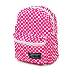 FYDELITY Mini Backpack Hipster Fashionista Bag Indy Pink & White Checkered Bar
