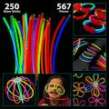 Bulk Pack of 567 Glowing Sticks - 250 Glow Sticks + 250 Connectors + 67 Connectors for Glow Necklace + Flower Balls + Triple Butterfly Bracelets and Luminous Glasses - Party Favors for Kids/Adults