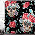 "Baccessor Skulls Shower Curtain Sugar Roes Flowers Skull Skeleton Halloween All Saints Day Black and White Waterproof Bathroom Decor with Hooks,72"" W x 72"" H (180CM x 180CM) - Skull Cactus"