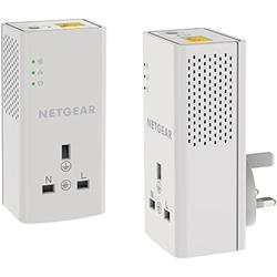 Netgear PLP1000–100UKS Lot de 2 adaptateurs CPL 1 Port, 1 Port Gigabit avec Prise supplémentaire 2 x adaptateurs + Pass-Thru 1 GB