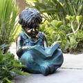 "Red Barrel Studio® Sauter Boy Sitting Down Reading Book Statue, Stone in Brown/Green, Size 14""H X 19""W X 21""D 