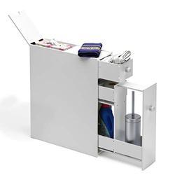 "Tangkula Bathroom Cabinet, Wooden Bathroom Storage Cabinet, Home Kitchen Living Room Bathroom Toilet Narrow Floor Organizer, Floor Storage Cabinet with Drawers, White (19""X6.5""X23"")"