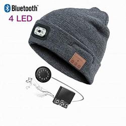 Bluetooth Beanie Hat with LED Headlight, Lighted Beanie Cap Rechargeable with Wireless Bluetooth Hands Free Head Hat Outdoor Warm Knit Cap with Adjustable LED Brightness-Ship from America