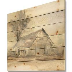 East Urban Home Modern Farmhouse 'Farmhouse Barn III' Print on Wood Wood in Brown/Gray, Size 30.0 H x 30.0 W in   Wayfair
