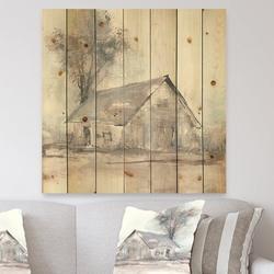 East Urban Home Modern Farmhouse 'Farmhouse Barn III' Print on Wood Wood in Brown/Gray, Size 16.0 H x 16.0 W in | Wayfair
