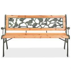 Charlton Home® Wooden & Wrought Iron Garden BenchWood/Metal in Brown, Size 28.75 H x 48.0 W x 13.5 D in   Wayfair 9DE9F1ED3B91406EBDA0B9D8BB20A6E2