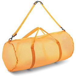 """Champion Sports Mesh Duffle Bag with Zipper and Adjustable Shoulder Strap, 15"""" x 36"""", Yellow - Multipurpose, Oversized Gym Bag for Equipment, Sports Gear, Laundry - Breathable Mesh Scuba and Travel Bag"""