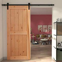 "YBT 5ft Sliding Barn Door Hardware Kit, Sliding Barn Door Closet Hardware Track System for Single Wooden Door, Easy to Install, Fit 30"" Wide Door (Simple Shape)"