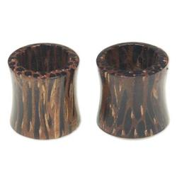 Coconut wood ear tunnels, 'Natural Camouflage'