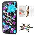 STENES Bling Case Compatible with iPhone 7 Plus/iPhone 8 Plus - Stylish - 3D Handmade [Sparkle Series] Rose Flower Music Blossom Design Cover with Screen Protector [2 Pack] - Black