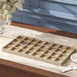 Charlton Home® Earring Insert Jewelry Organizer Tray Faux Leather/Faux Suede in Brown, Size 0.75 H x 14.25 W x 7.75 D in | Wayfair