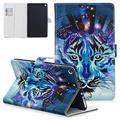 UGOcase Slim Case for Amazon Kindle Fire HD 8 Case 8th/7th/6th Generation, 2018/2017/2016 Released- Ligthweight Folio Stand Auto Sleep Wake Protective Smart Case Cover with Cards Holder, Blue Tiger