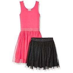 Marque Amazon - Spotted Zebra Ensemble robe débardeur et jupe, style tutu, pour fille, Dark Pink/Black Sparkle, US 4T (EU 104–110)