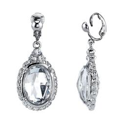 1928 Silver Tone Simulated Stone & Crystal Oval Linear Drop Earrings, Women's, White