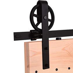 YBT 7ft Big Wheel Shape Sliding Barn Door Hardware Kit, Vintage Sliding Barn Door Closet Hardware Track System for Single Wooden Door