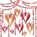 Jovitec 8 Pieces 3D Hanging Paper Hearts Set with 4 Pieces 52.5 Feet Valentine's Day Glitter Red Heart Hanging Garland for Home Decor Engagement Wedding Party Photo Props Backdrop