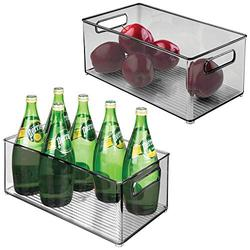 """mDesign Deep Plastic Kitchen Storage Organizer Container Bin with Handles for Pantry, Cabinets, Shelves, Refrigerator, Freezer - BPA Free - 14.5"""" Long, 2 Pack - Smoke Gray"""