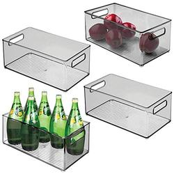 """mDesign Deep Plastic Kitchen Storage Organizer Container Bin with Handles for Pantry, Cabinets, Shelves, Refrigerator, Freezer - BPA Free - 14.5"""" Long, 4 Pack - Smoke Gray"""